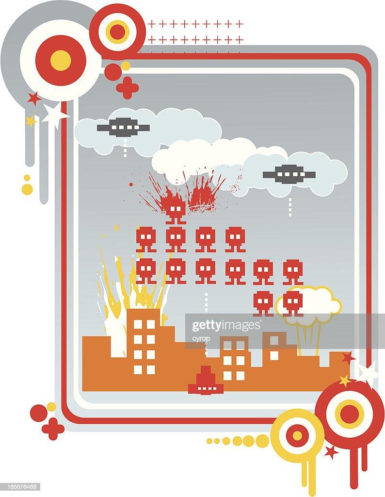 pixel city under siege : stock illustration