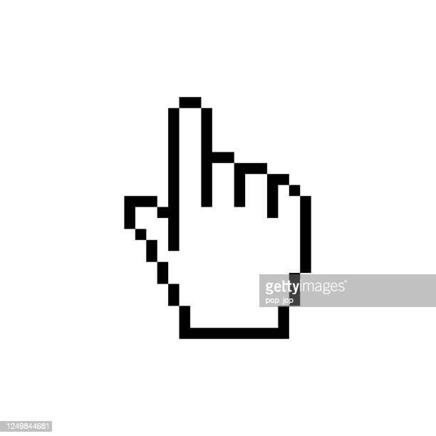 pixel cursor symbol - hand. mausklick. vektor-stock-illustration - computermaus stock-grafiken, -clipart, -cartoons und -symbole