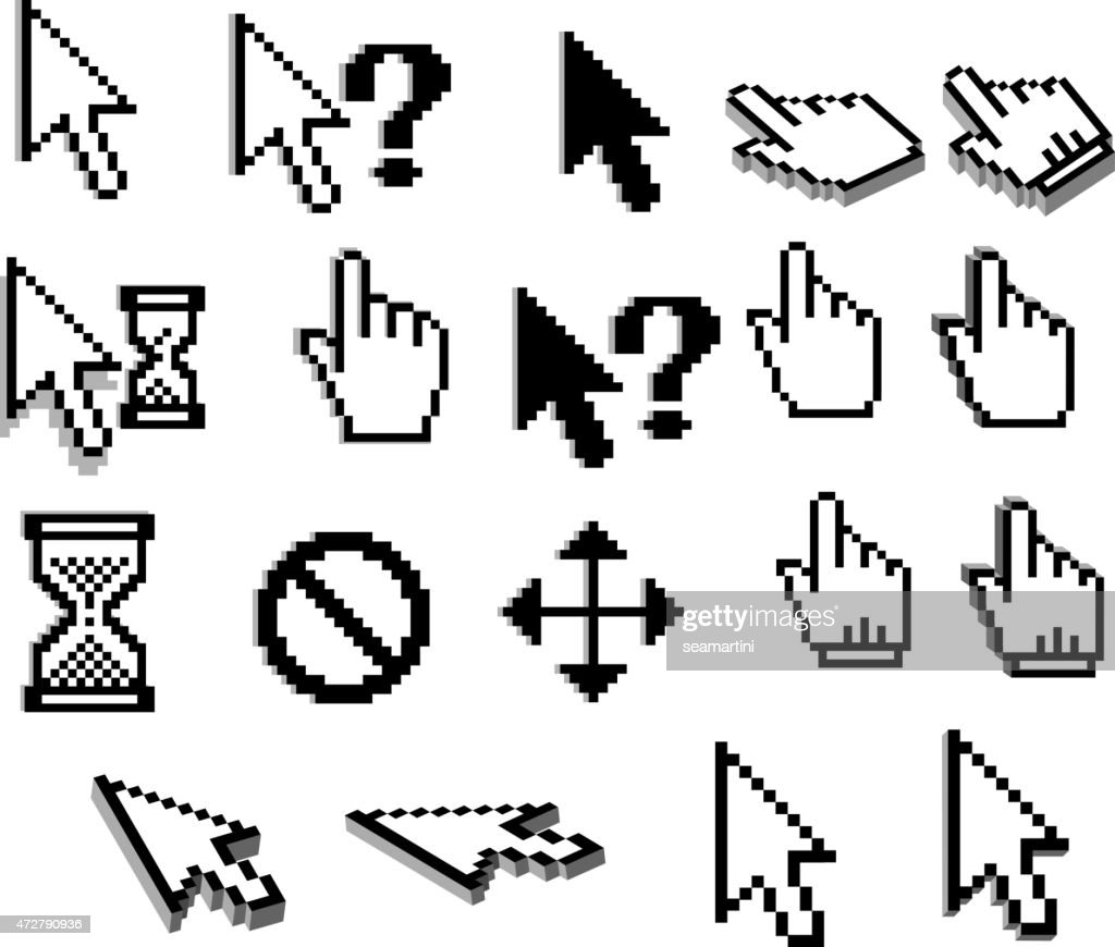 Pixel cursor icons in black and white