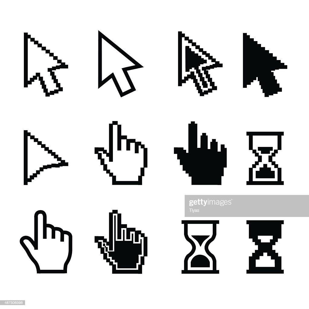 Pixel cursors icons - mouse cursor hand pointer hourglass - Illustration : stock illustration