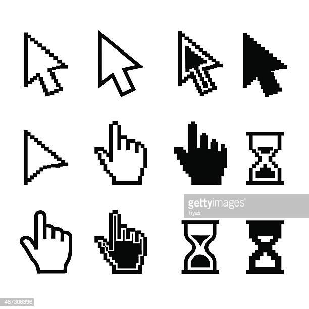 pixel cursors icons - mouse cursor hand pointer hourglass - illustration - hand stock illustrations
