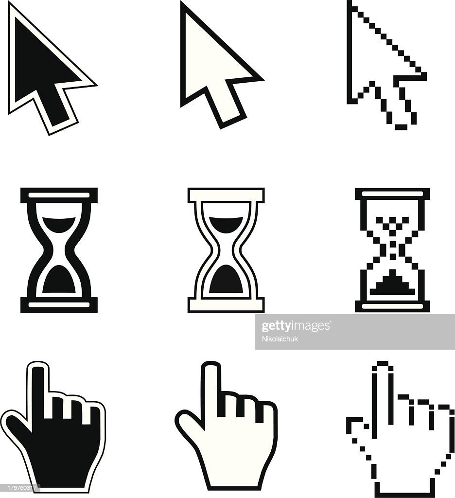 Pixel cursors icons-arrow, hourglass, hand mouse