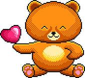 Pixel cute teddy bear detailed illustration isolated vector