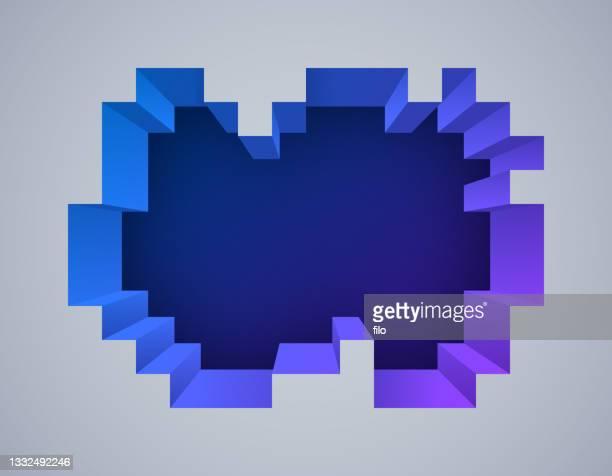 ピクセル深度 3d 抽象背景 - 出現点のイラスト素材/クリップアート素材/マンガ素材/アイコン素材