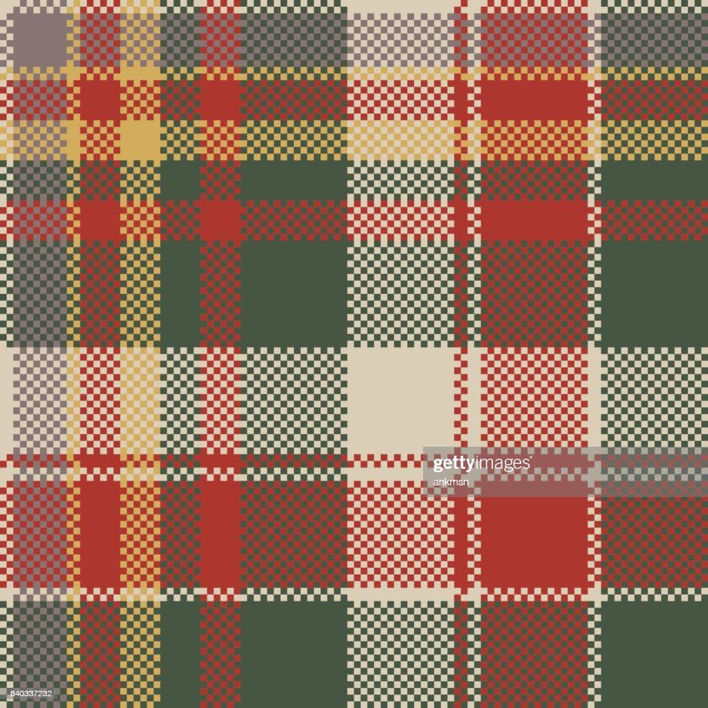 Pixel fabric texture classic plaid seamless pattern