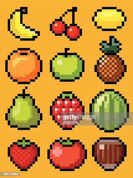 pixel fruits - pixellated stock illustrations, clip art, cartoons, & icons