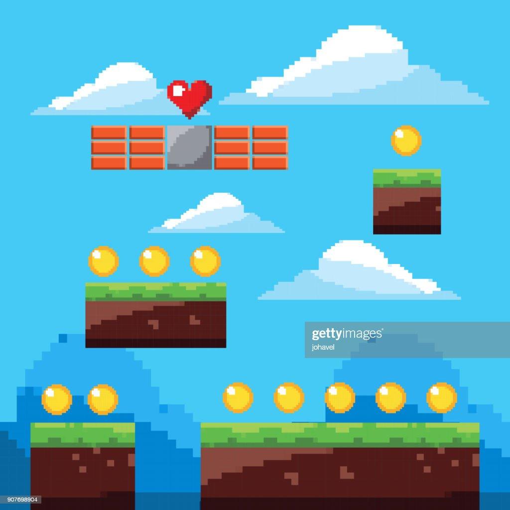 pixel game arcade world gold coins landscape
