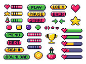 Pixel game buttons. Games UI, gaming controller arrows and 8 bit pixels button vector set