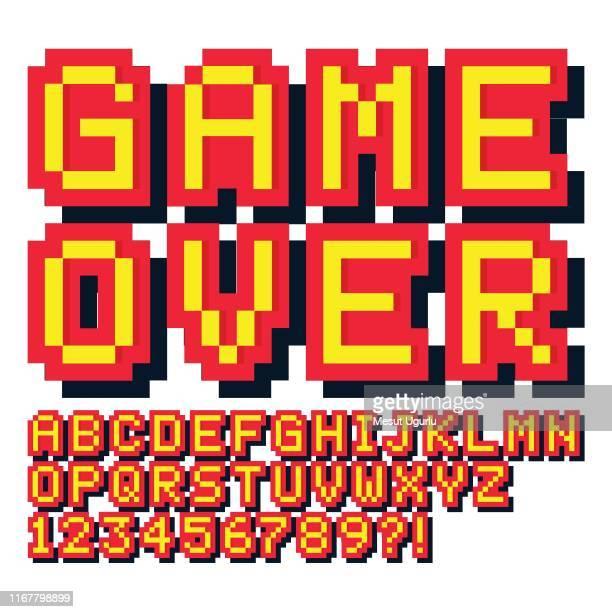 ピクセルゲームフォント。レトロなゲームのテキスト, - 書体点のイラスト素材/クリップアート素材/マンガ素材/アイコン素材
