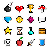 Pixel game icon set, computer and web interface