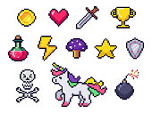 Pixel game items. Retro 8 bit games art, pixelated heart and star icon. Gaming pixels icons vector set