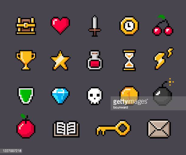 ピクセルゲームアウトライン輪郭アイコン - ピクセル化点のイラスト素材/クリップアート素材/マンガ素材/アイコン素材