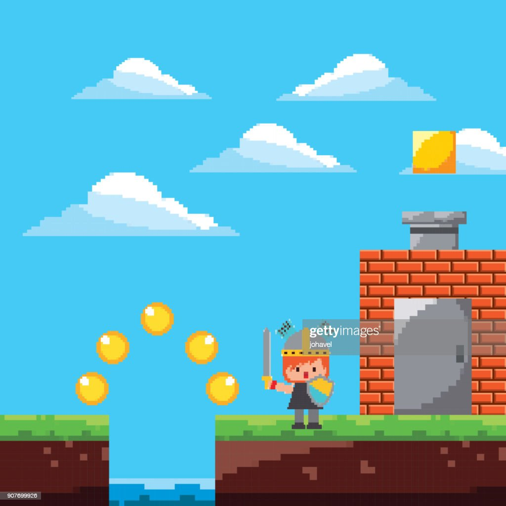 pixel game platform level warrior door coins