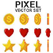 Pixel gold coins, stars and red hearts flips. Vector 8bit game icons set isolated on a white background.