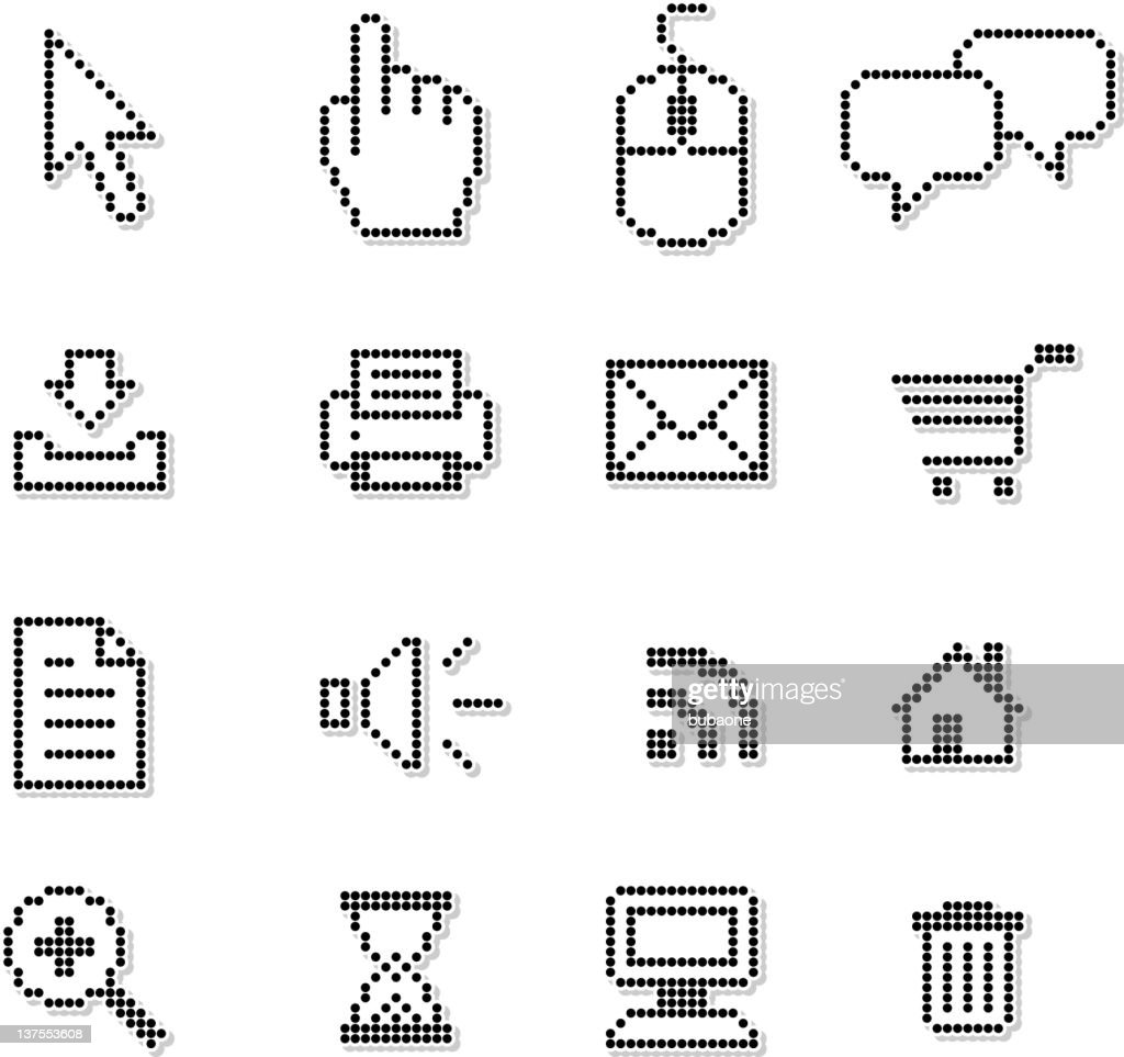 Pixel internet royalty free vector icon set