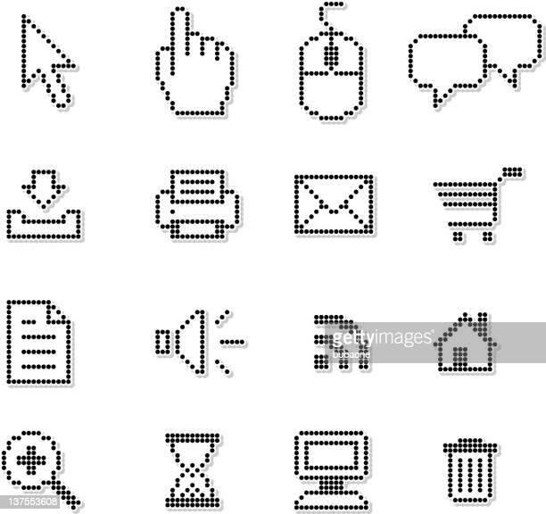 ilustrações, clipart, desenhos animados e ícones de pixel internet ícone conjunto de vetor royalty free - ponteiro do mouse