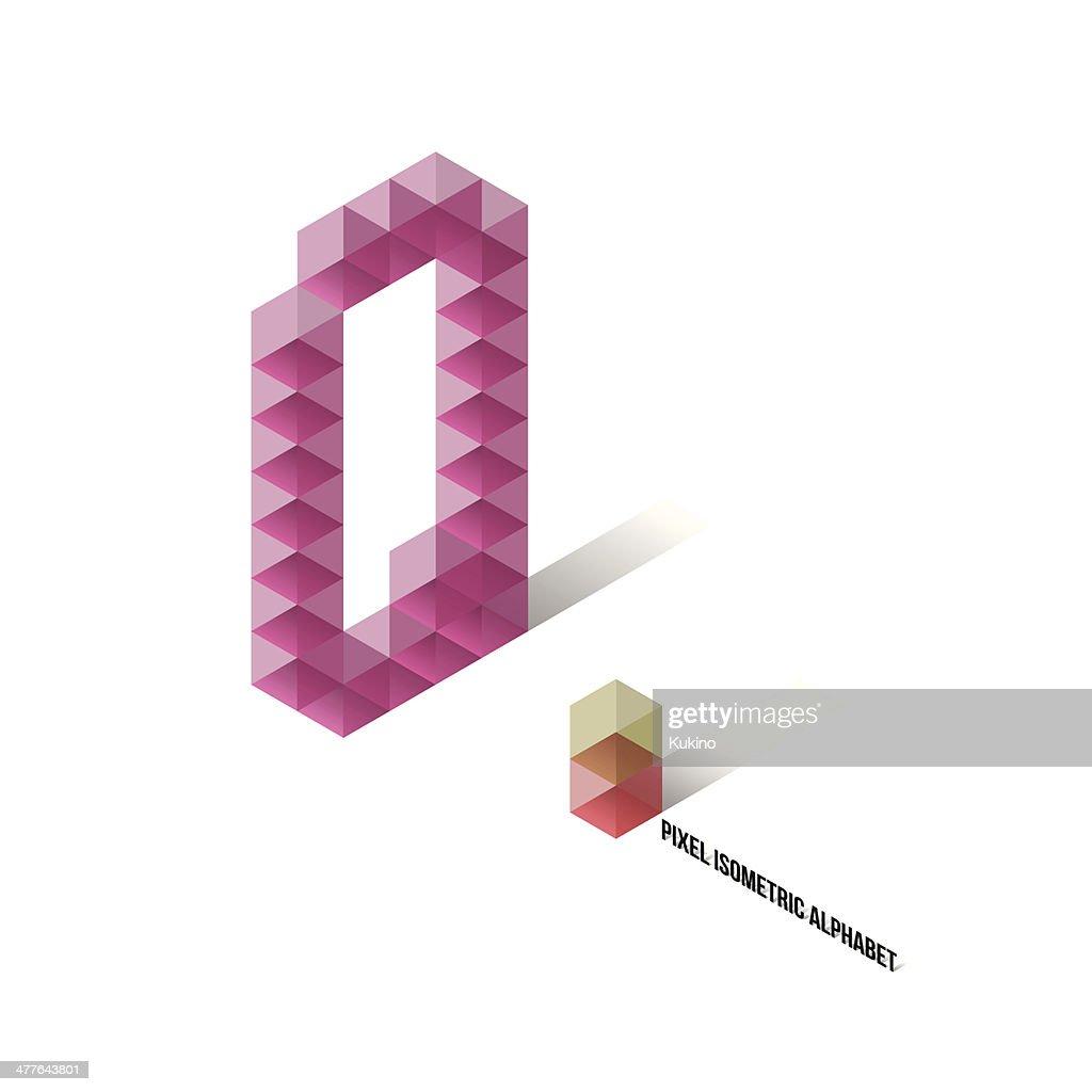 Q - Pixel Isometric Alphabet