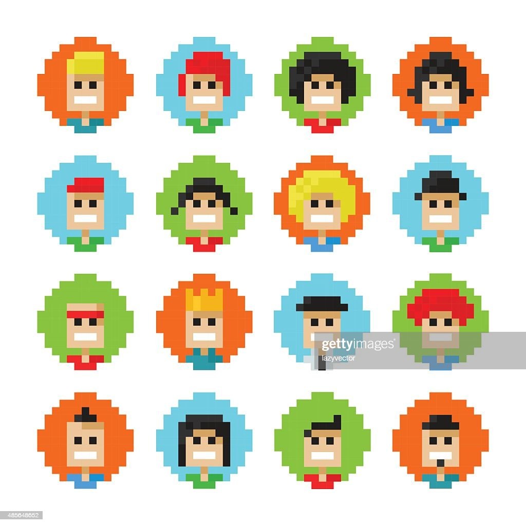 Pixel Male And Female Faces Avatars