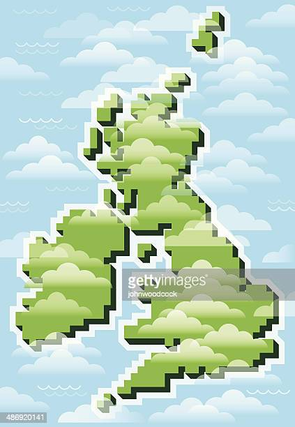 UK pixel map with clouds