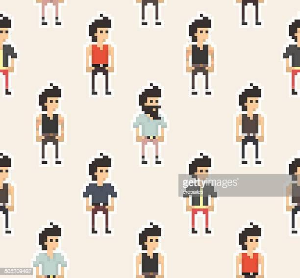 Pixel People - Boys Seamless Pattern