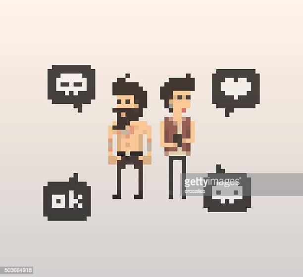 pixel people - friends conversation - pixellated stock illustrations, clip art, cartoons, & icons