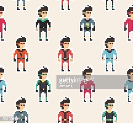 Pixel People - Superhero Seamless Pattern