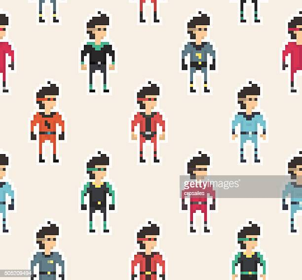 Pixel People - Superhero Seamless Pattern