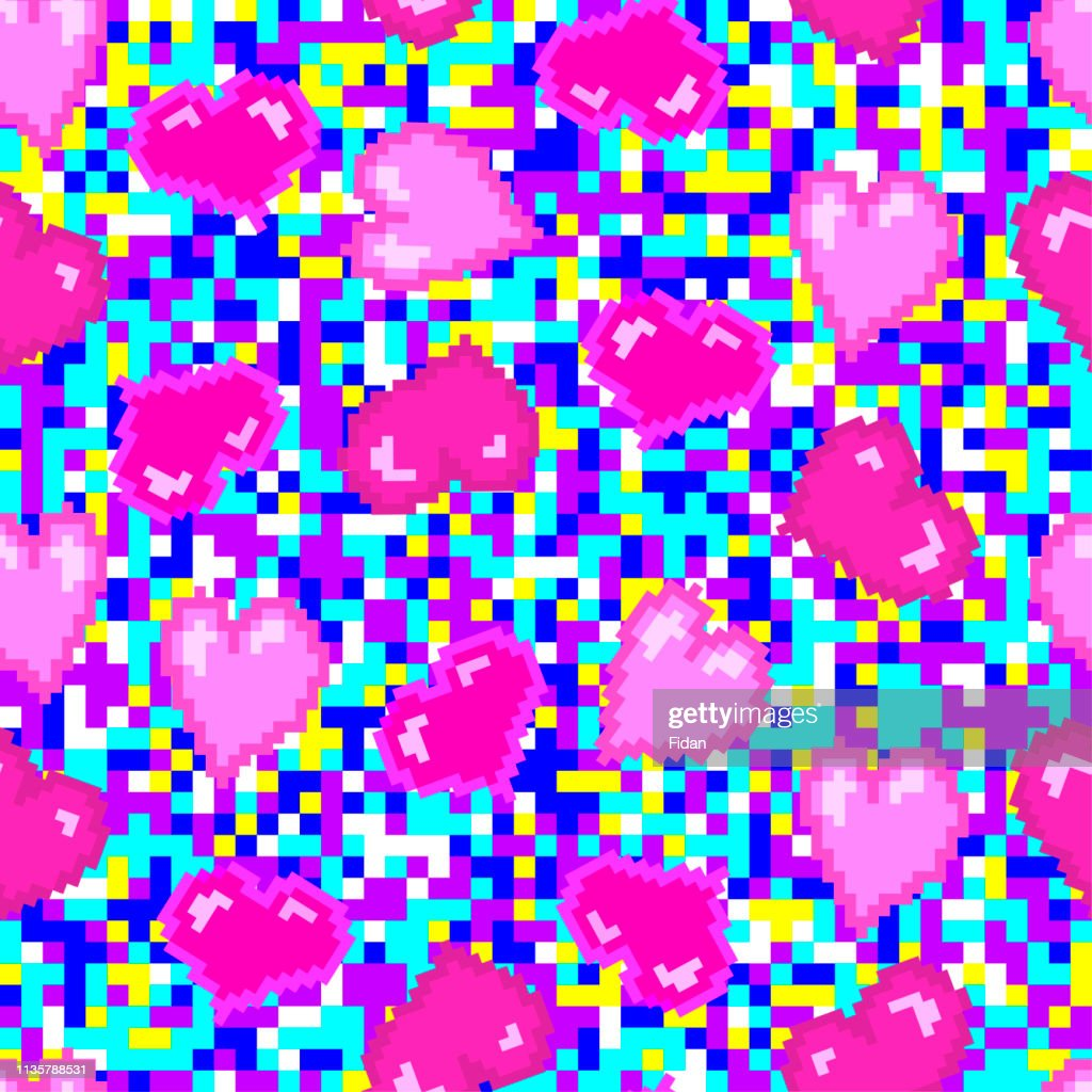 Pixel pink hearts pattern. Seamless vector multicolored pixel background. Seamless vector web love background.  CMYK colors