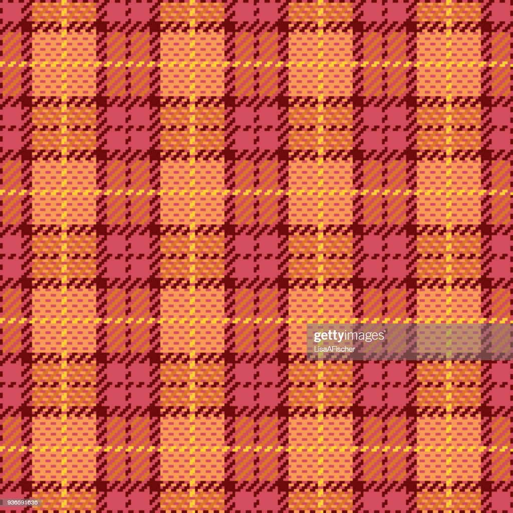 Pixel Plaid in Pink and Orange