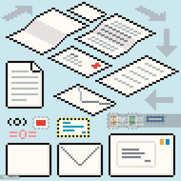 ilustrações, clipart, desenhos animados e ícones de pixel post fluxo - correio correspondência