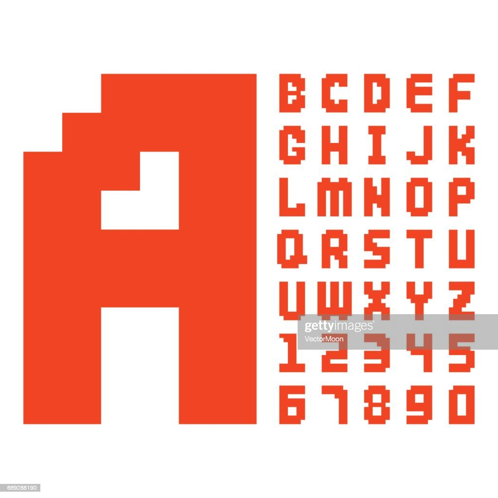 Pixel retro font red computer game design 8 bit letters numbers electronic futuristic style vector abc typeface digital creative alphabet isolated