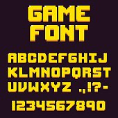 Pixel retro videogame font