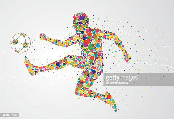 pixel soccer player - drive ball sports stock illustrations