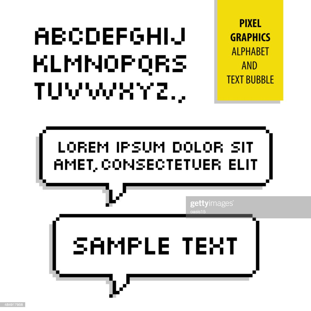 Pixel text bubble and Pixel alphabet. Vector graphics