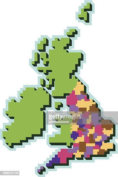 Pixel UK counties map