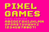 Pixel vector font design, stylized like in 8-bit games.