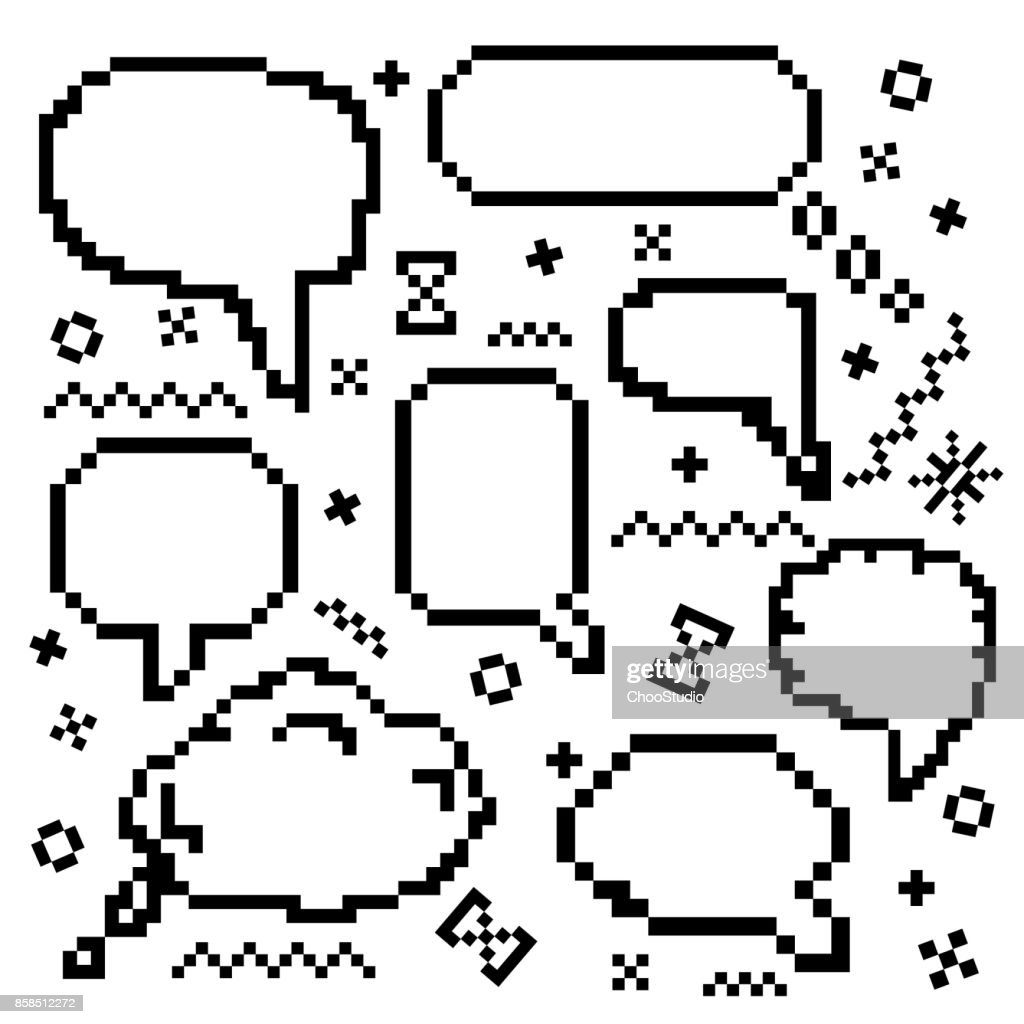 Pixel vector icons set