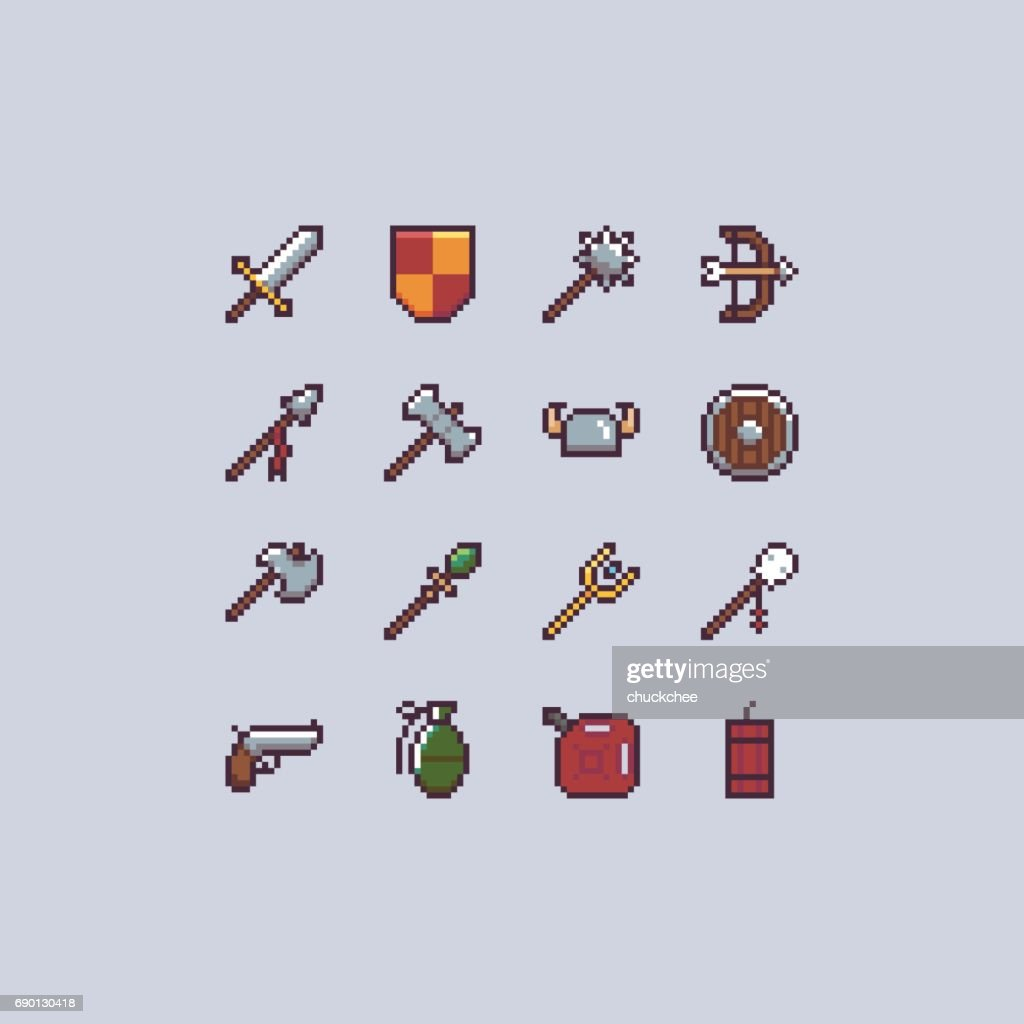 Pixel weapons icon set