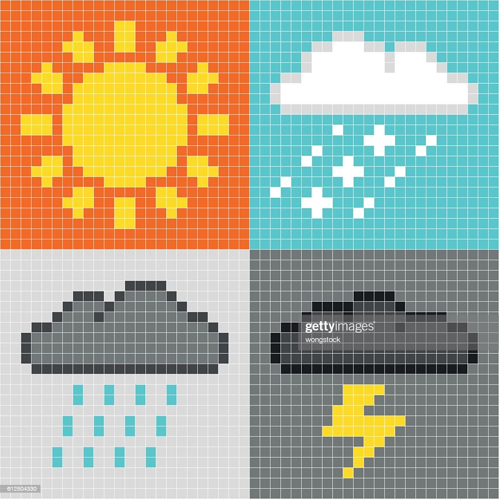 Pixel Weather Symbols Sun Clouds Rain Thunder Vector Art Getty Images