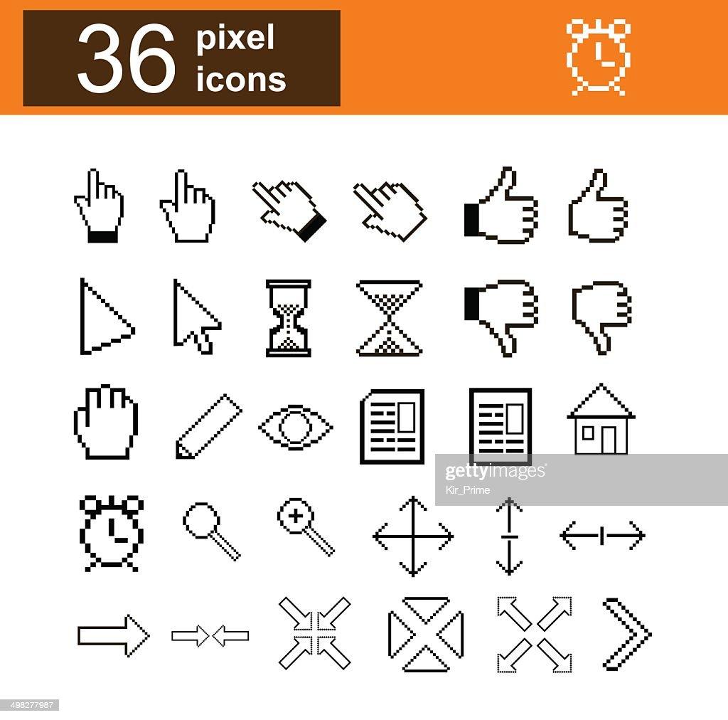 Pixel web icons set