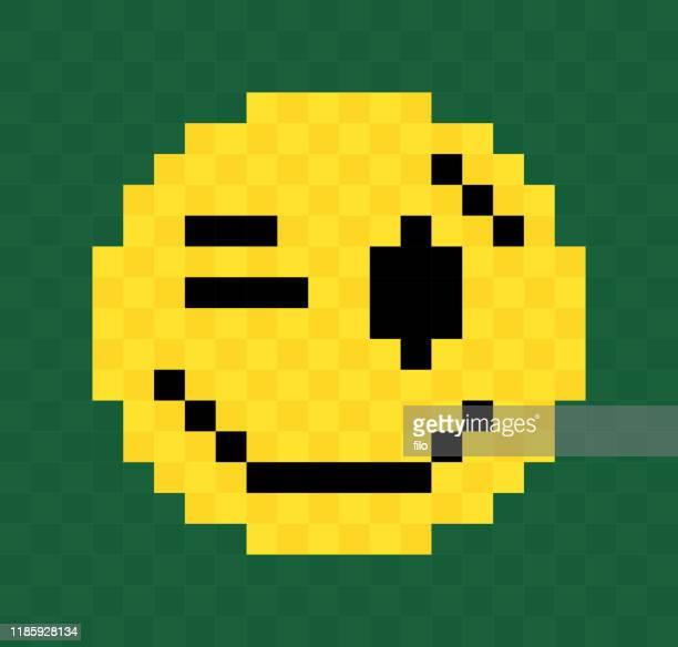 pixel winking face - naughty america stock illustrations