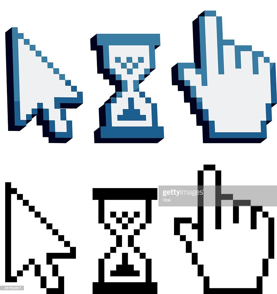 Pixelated 3D and flat cursor icons in black and blue