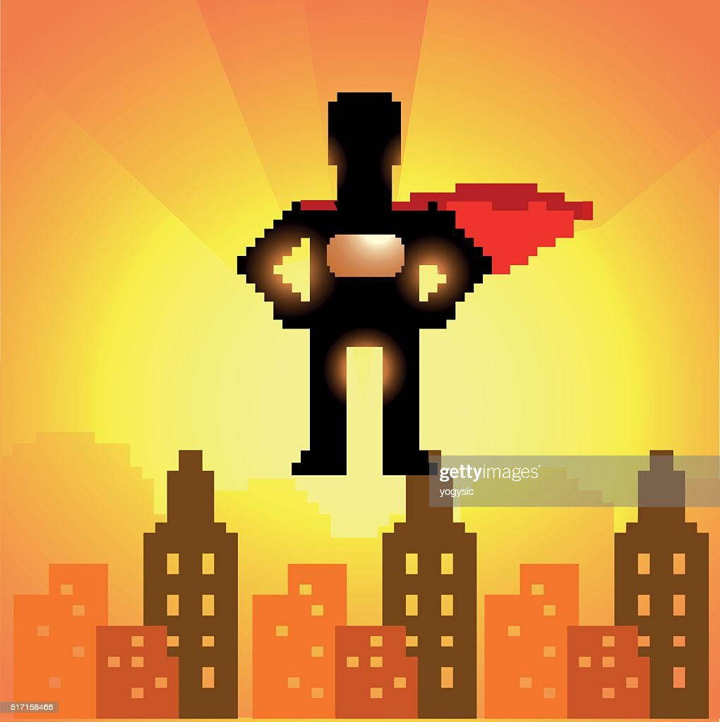 Pixelated 8-bit superhero silhouette