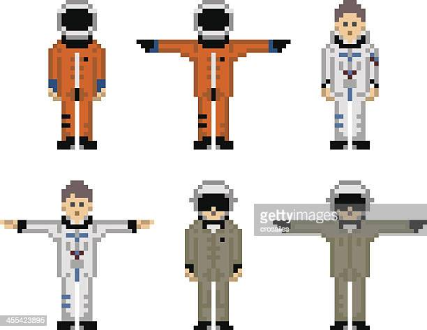 pixelated astronaut and military pilot male characters - pixellated stock illustrations, clip art, cartoons, & icons