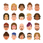 20 pixelated avatar of different races