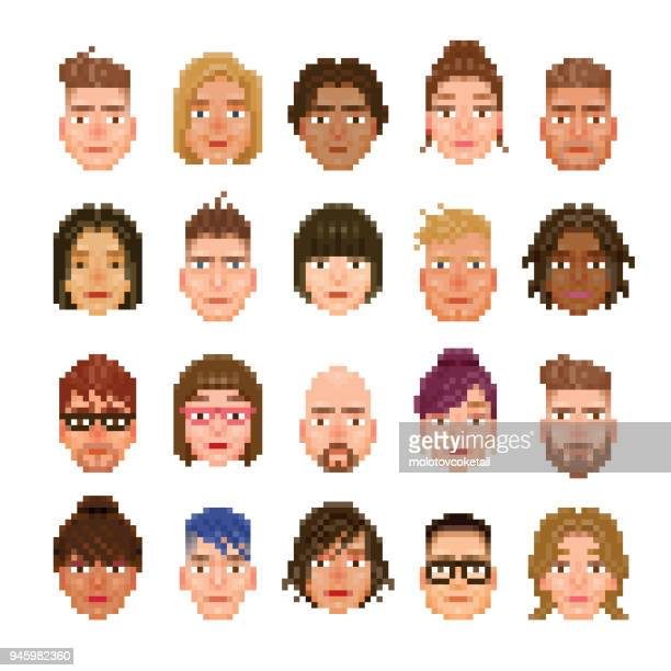 20 pixelated avatar of different races - avatar stock illustrations