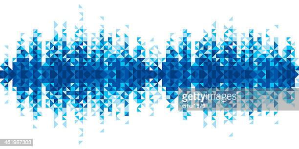pixelated blue sound wave against white background - frequency stock illustrations