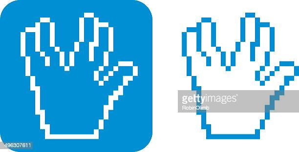 Pixelated Hand Icon Live Long