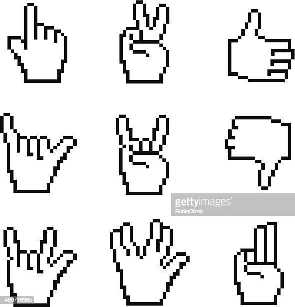 pixelated hand symbols - pixellated stock illustrations, clip art, cartoons, & icons