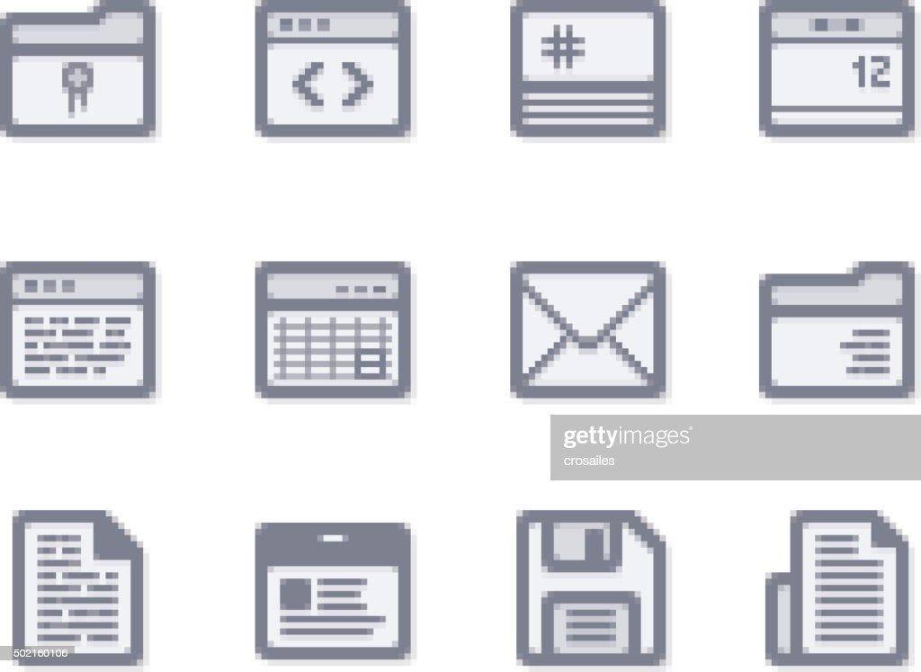 Pixelated Interface Icons : stock illustration